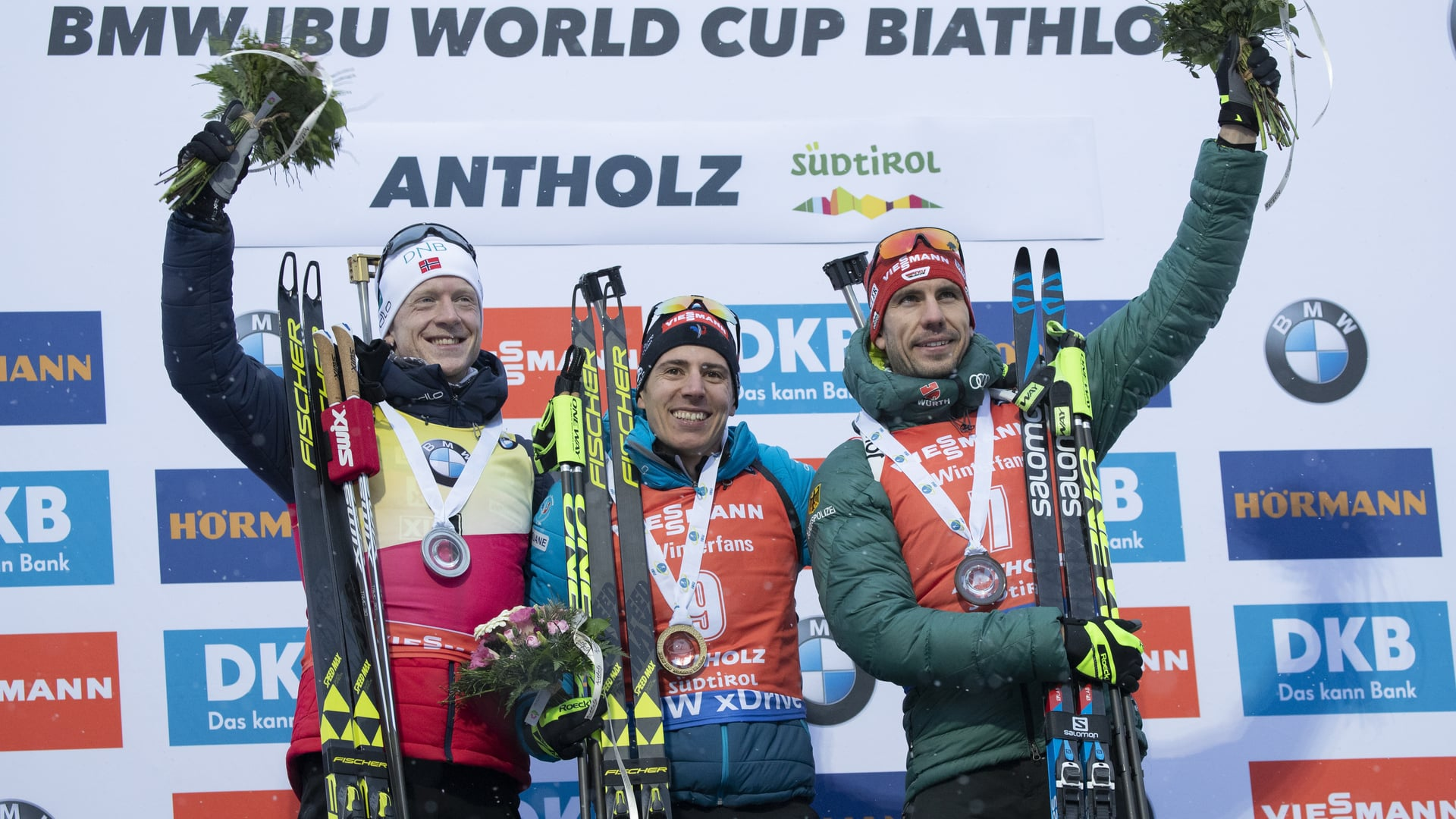 27.01.2019 - Quentin Fillon Maillet celebrates at the Anterselva final