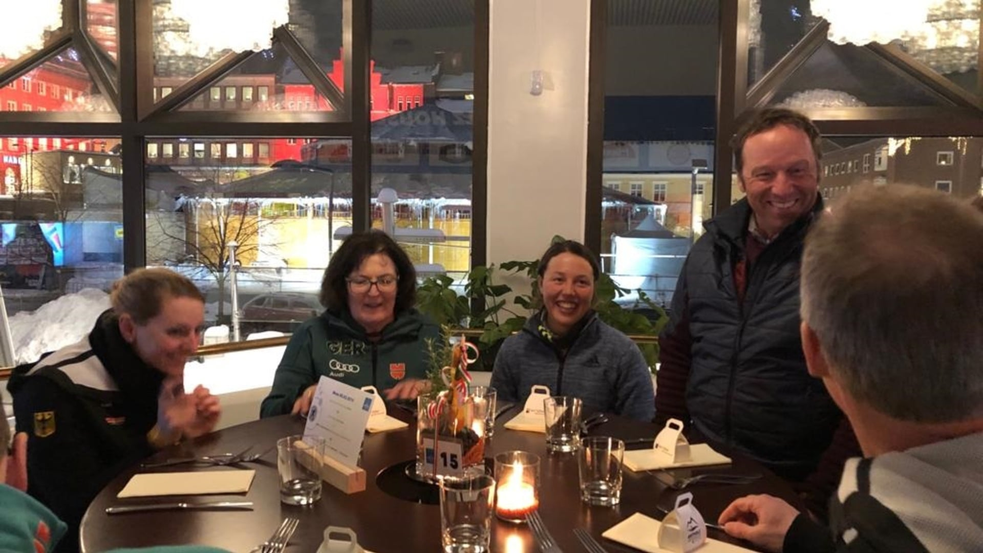 08.03.2019 - Laura Dahlmeier celebrated the bronze medal won in the Sprint in the Antholz House