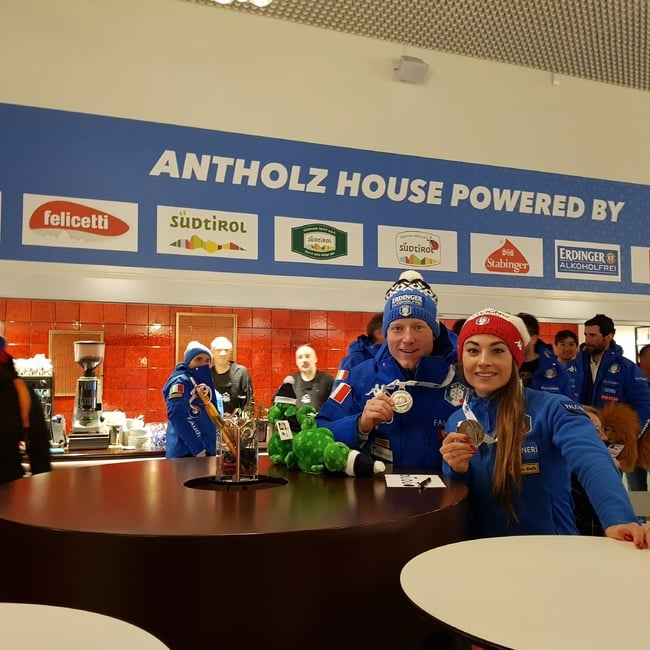 15.03.2019 - Festive atmosphere last night in the Antholz House for the whole Italian team and the staff of the restaurant